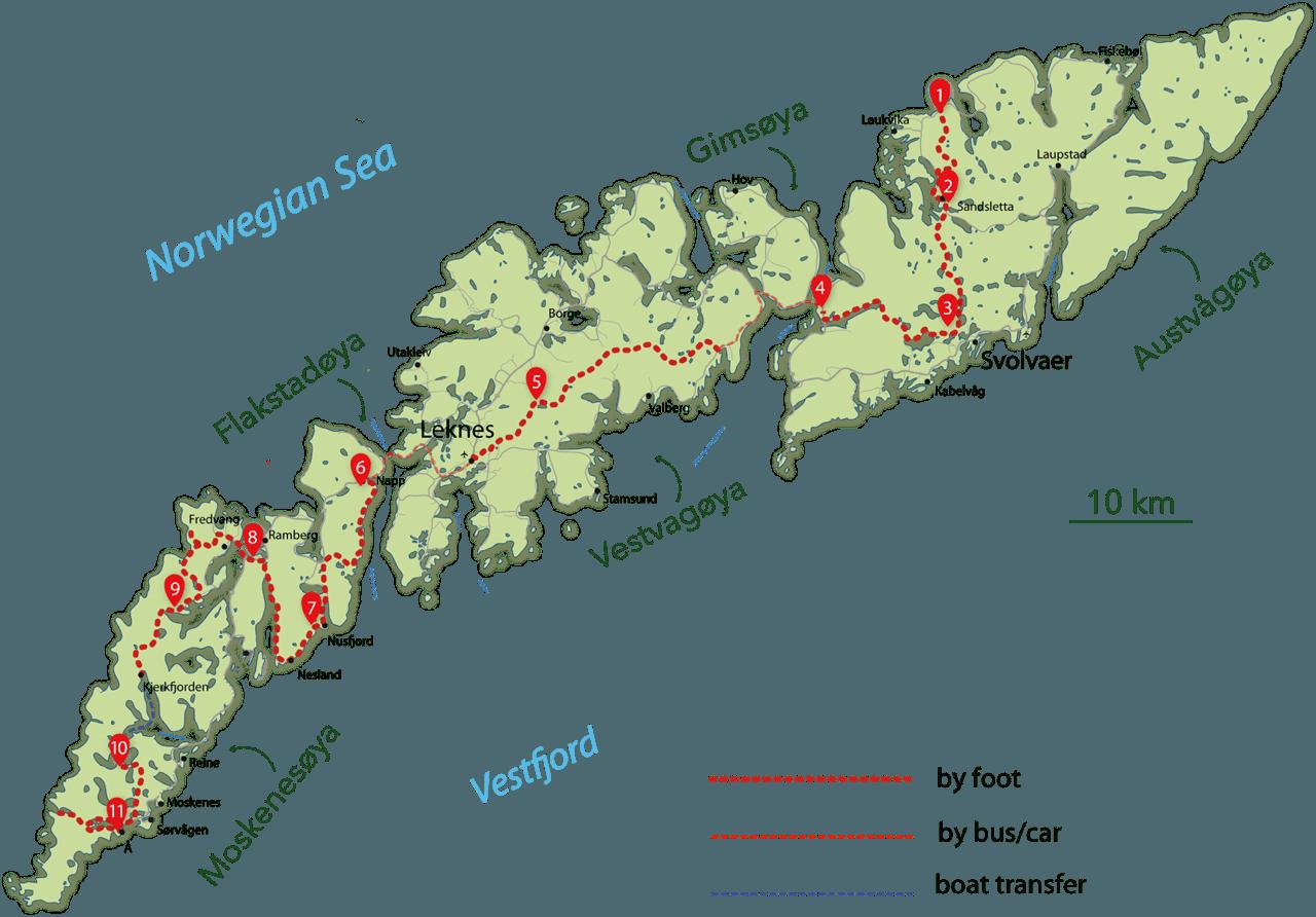 RANDOLOFOTEN Hikes And Treks - Norway map lofoten islands