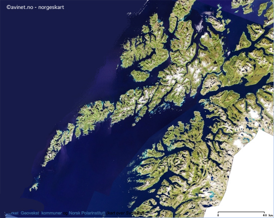 Topographic map of Lofoten